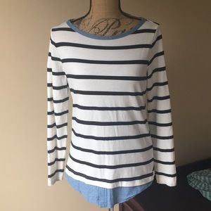 Loft striped long sleeve shirt with jean lining